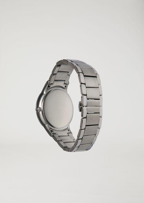 Reloj de cuarzo de acero inoxidable con correa de 3 cadenas de eslabones