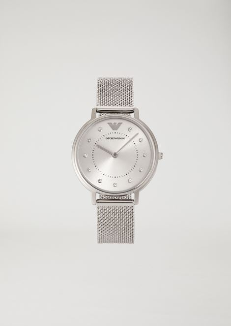 水晶刻度不锈钢指针式腕表