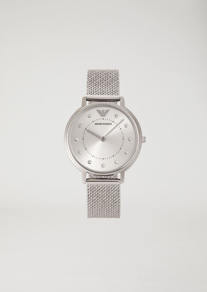 ee536470aa90c4 Woman two-hands stainless steel watch | Woman | Emporio Armani
