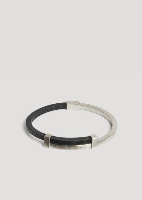 Two-tone brushed stainless steel bracelet