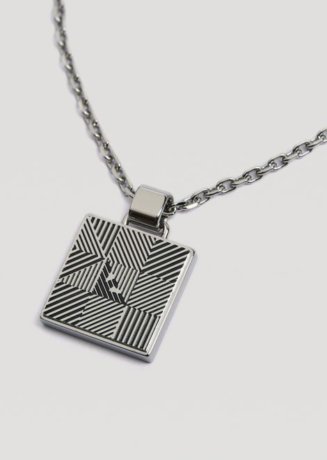 Necklace with square charm featuring optical decorations