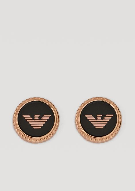 Stainless steel button earrings with logo details