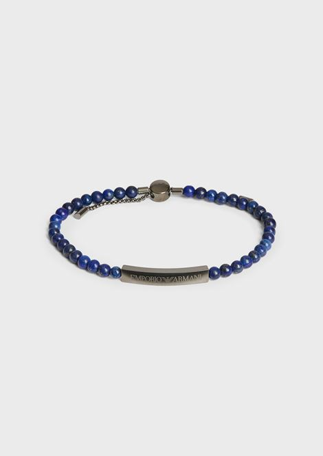 Bracelet with stainless steel beads and plaque