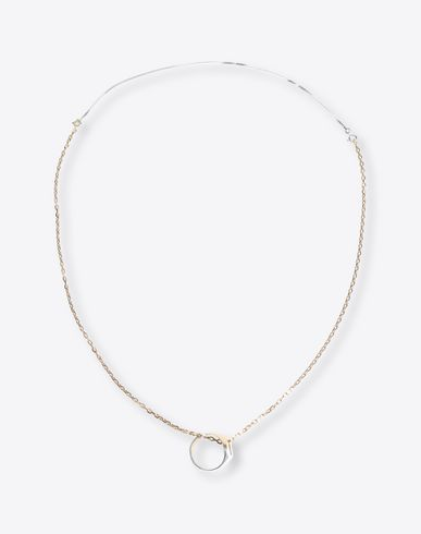 MAISON MARGIELA Necklace Man Silver necklace with ring pendant f