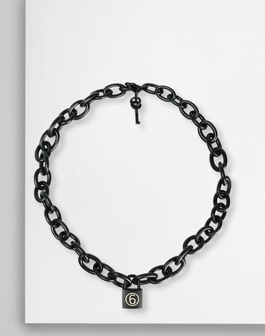 MM6 MAISON MARGIELA ネックレス レディース Brass chain necklace with a padlock f