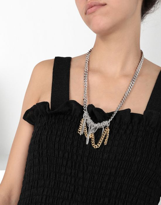 MM6 MAISON MARGIELA Necklace with contrasting chains Necklace [*** pickupInStoreShipping_info ***] b