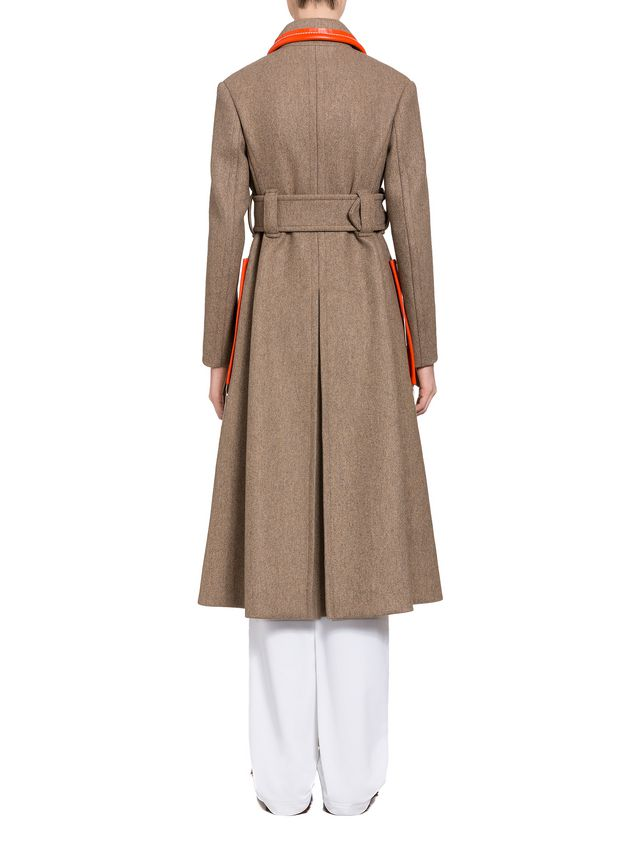 Marni Coat in brown felted double knit wool Woman