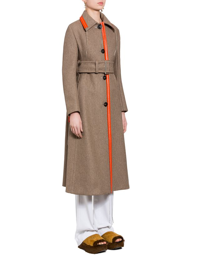 Marni Coat in brown felted double knit wool Woman - 4
