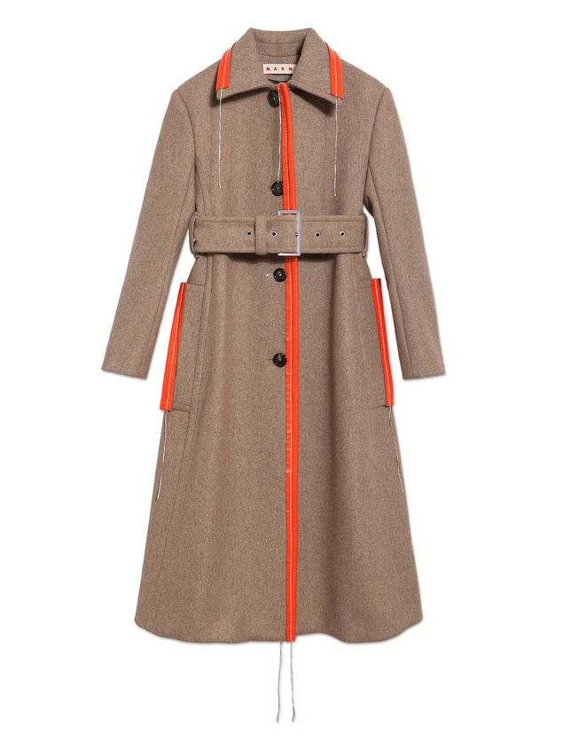 Marni Coat in brown felted double knit wool Woman - 2