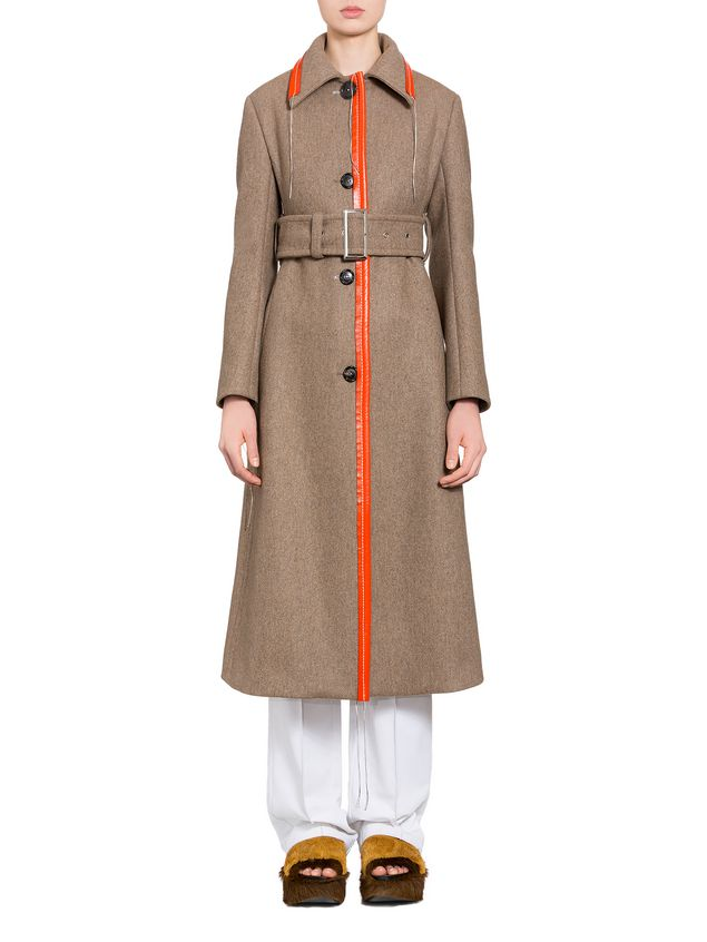 Marni Coat in brown felted double knit wool Woman - 1