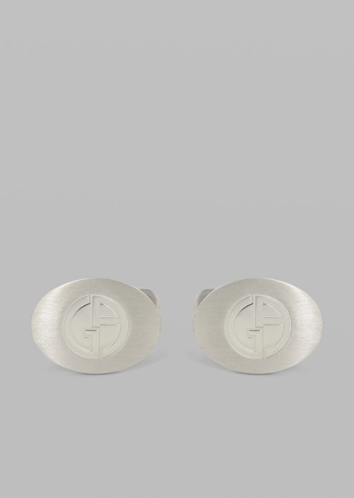 925 Silver Round Cufflinks With Engraved Logo
