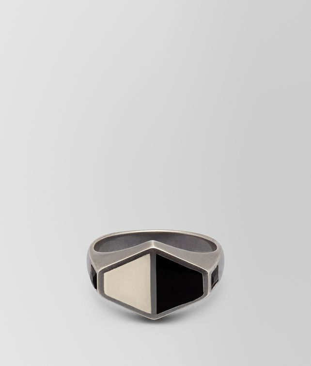BOTTEGA VENETA NERO/MIST SILVER RING Ring Woman fp