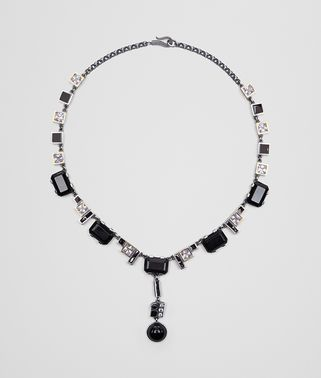 ONYX/SILVER/CUBIC ZIRCONIA NECKLACE