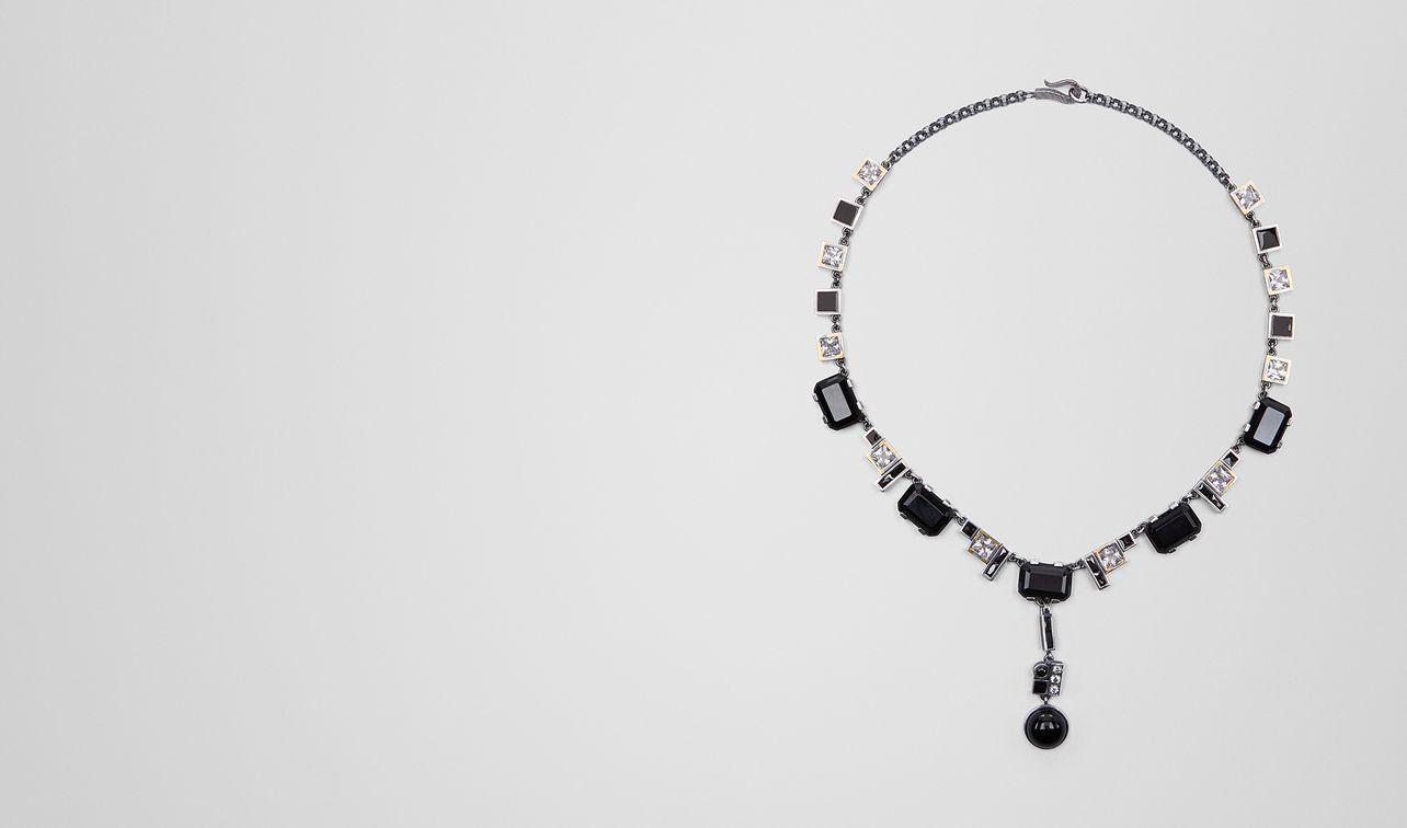 onyx/silver/cubic zirconia necklace landing