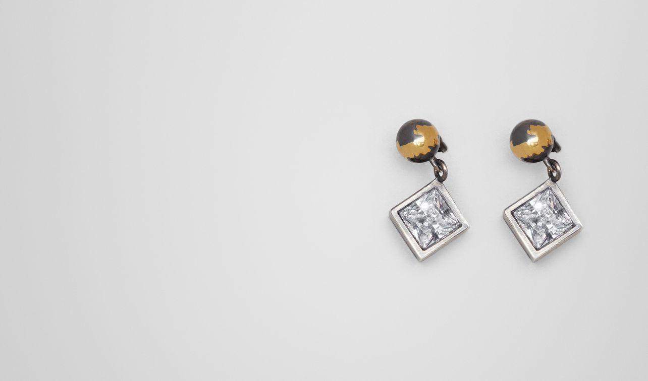 cubic zirconia/enamel/silver earring landing