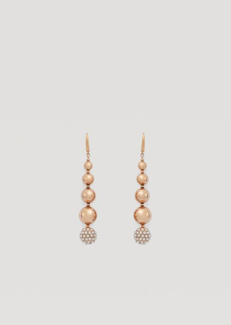 Drop earrings with baubles and diamonds