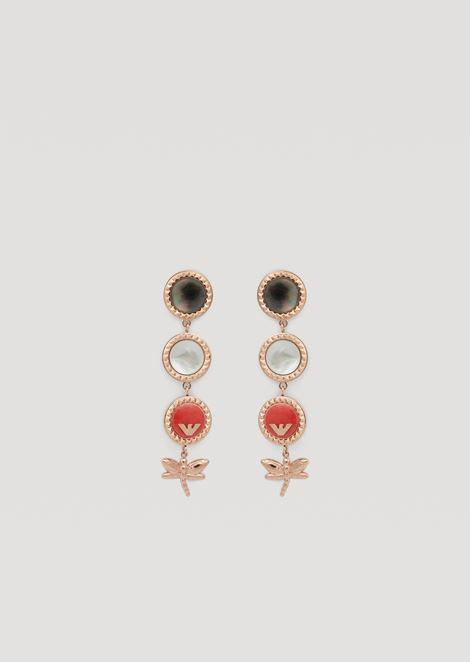 Drop earrings with enamel and mother-of-pearl discs