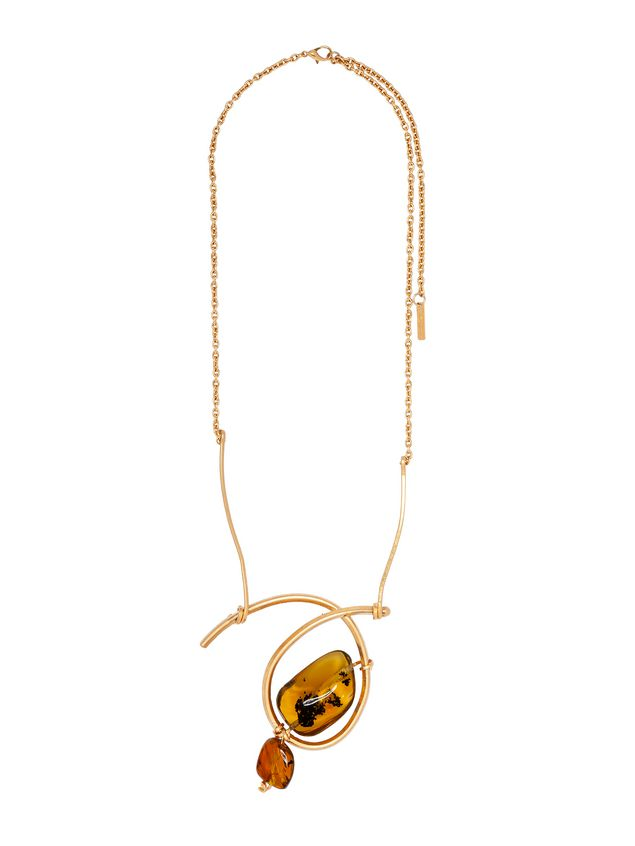 Marni AMBER necklace in brass Woman - 1