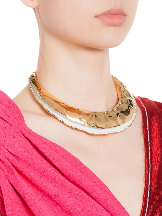 Marni TRIBE crescent choker necklace in metal Woman - 2