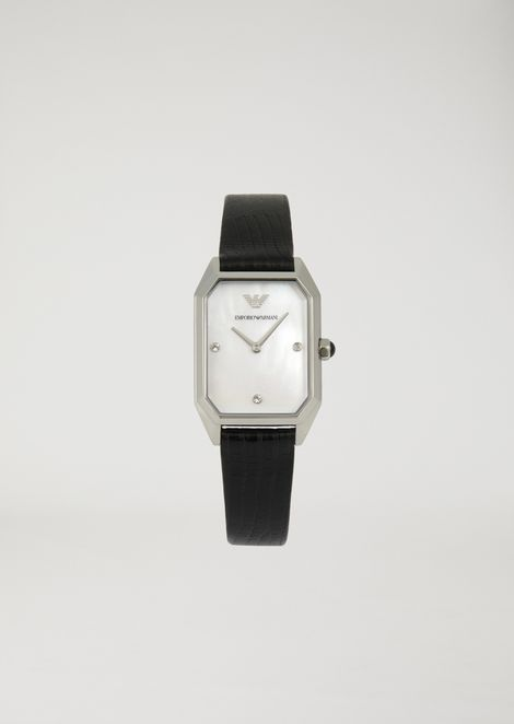 Watch with embedded diamante dial and croc print leather strap