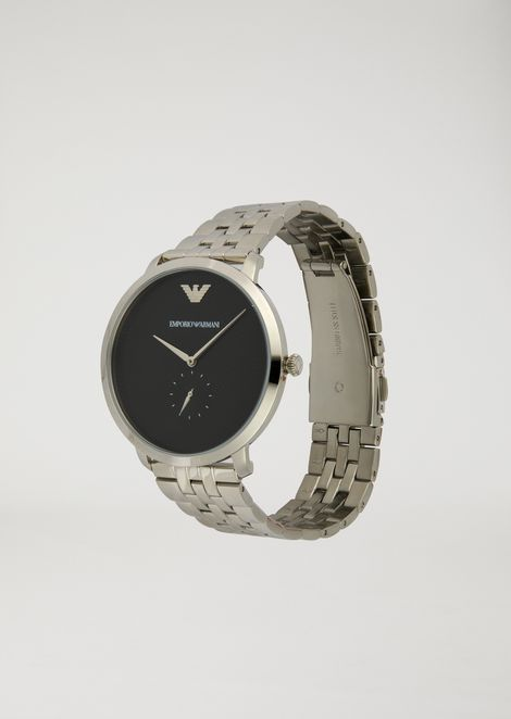 Stainless steel watch with interwoven link strap and contrast dial