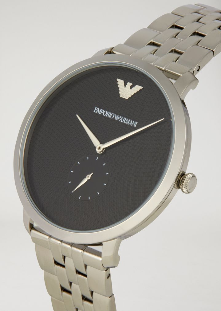 EMPORIO ARMANI Stainless steel watch with interwoven link strap and contrast dial Watch Man a