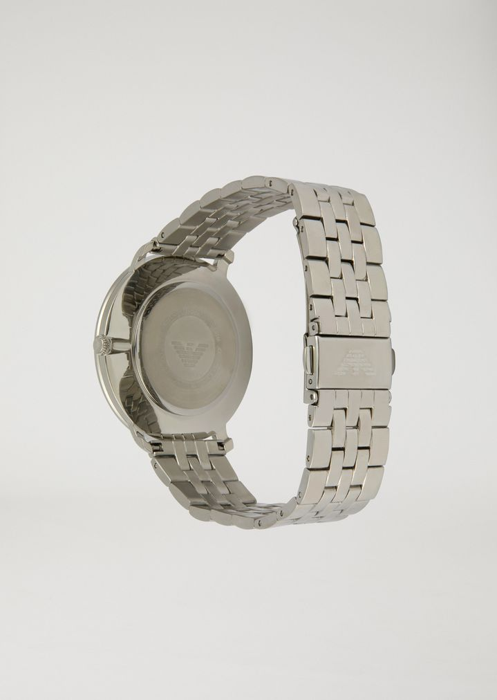 EMPORIO ARMANI Stainless steel watch with interwoven link strap and contrast dial Watch Man d