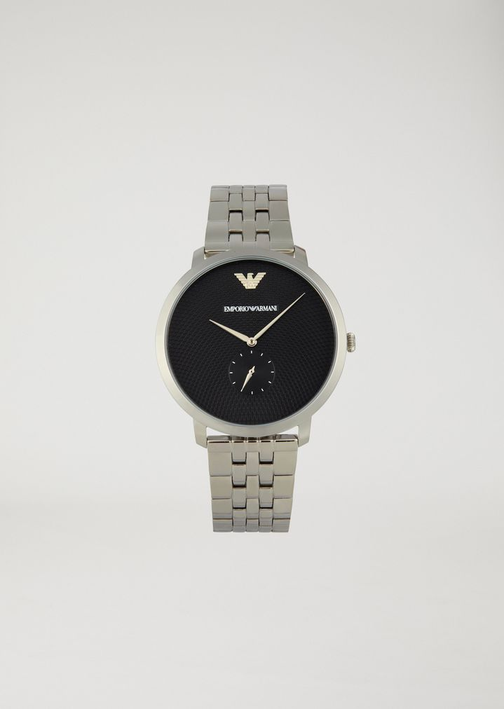 EMPORIO ARMANI Stainless steel watch with interwoven link strap and contrast dial Watch Man f