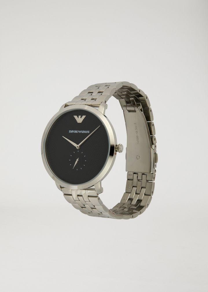 EMPORIO ARMANI Stainless steel watch with interwoven link strap and contrast dial Watch Man r