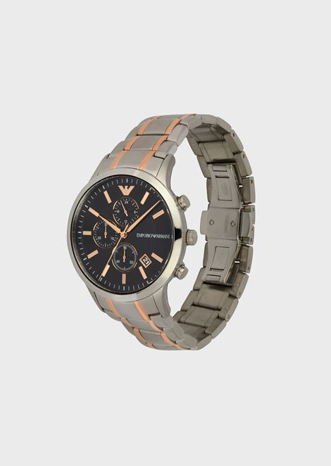 Stainless steel chronograph with three-chain strap with rose gold strips