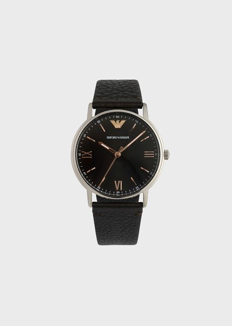 Watch with round dial and grainy leather strap b4b859428f