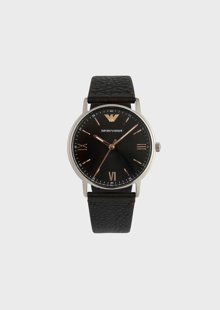 e3a4c6a13274 Montre avec cadran rond et bracelet en cuir grainé   Homme   Emporio Armani