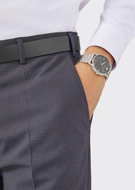 Man three-hands stainless steel watch