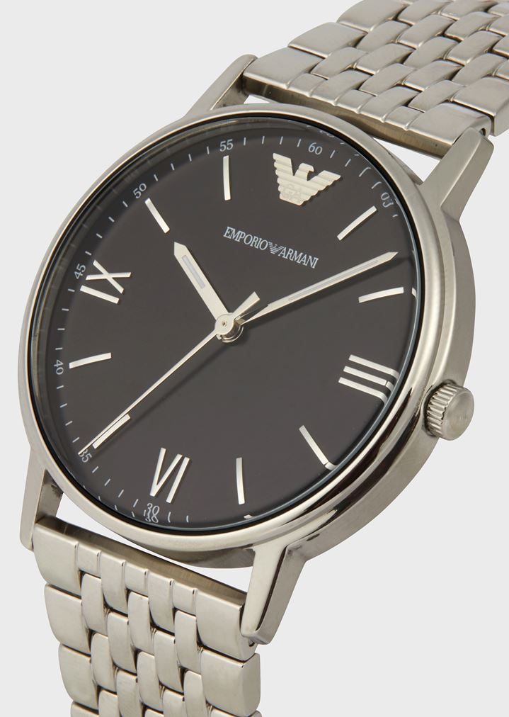 EMPORIO ARMANI Stainless steel watch with interwoven link strap Watch Man a