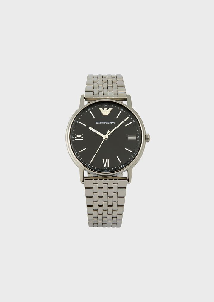 EMPORIO ARMANI Stainless steel watch with interwoven link strap Watch Man f