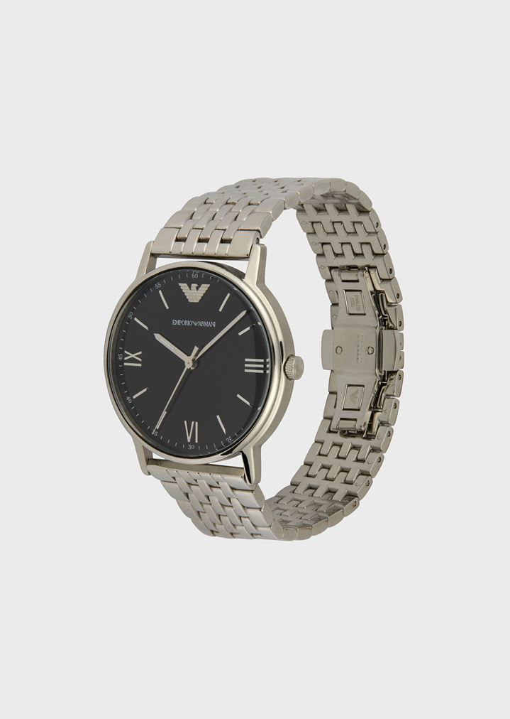 EMPORIO ARMANI Stainless steel watch with interwoven link strap Watch Man r