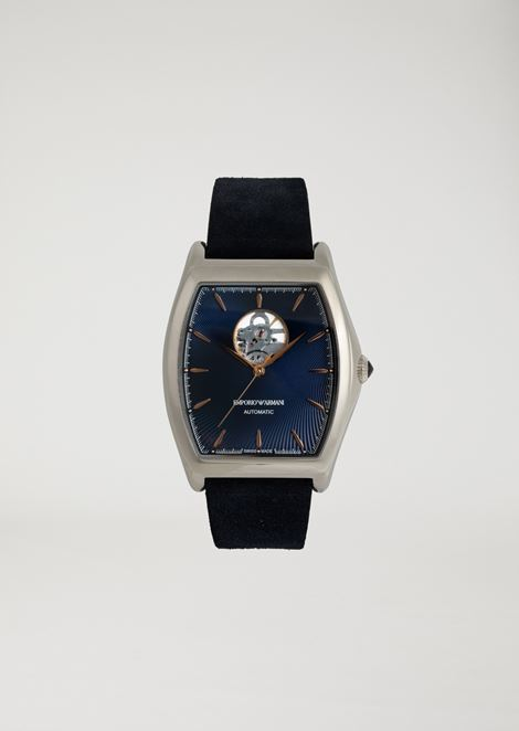 Automatic watch with exposed movement