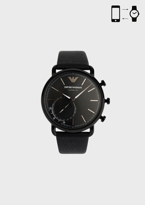 9d0dcda6d5b5 Hybrid smartwatch with hammered leather strap