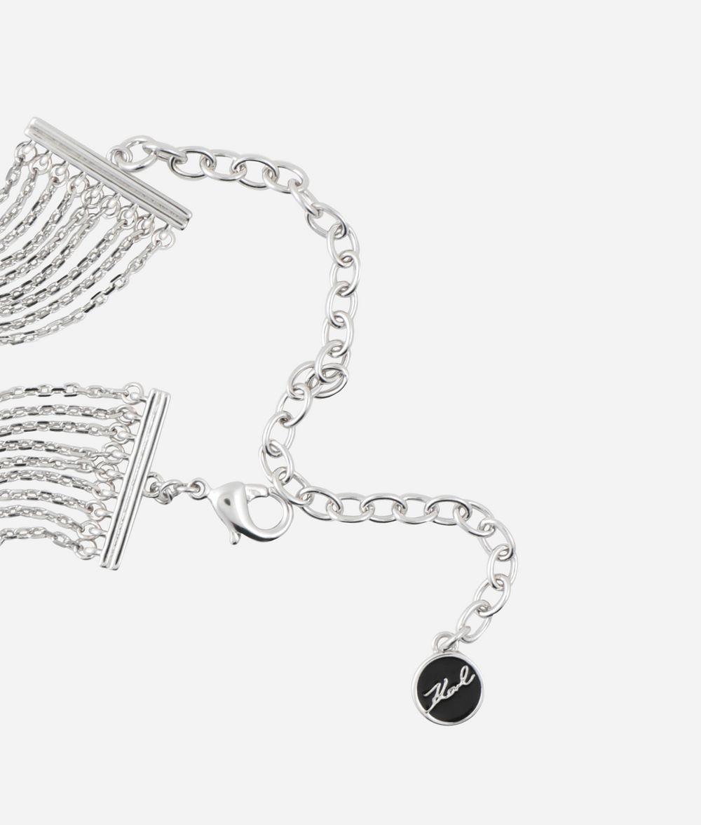 KARL LAGERFELD Double K Fringe Choker Necklace Woman d
