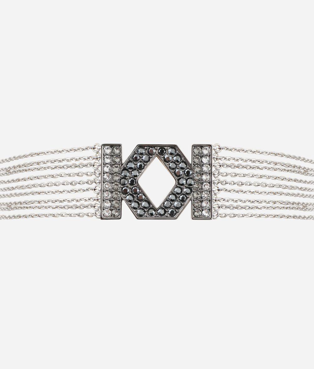 KARL LAGERFELD Double K Fringe Choker Necklace Woman f