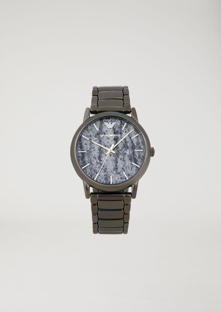 538e5db9 Uhr mit Zifferblatt in Marmor-Optik und dreigliedrigem Armband