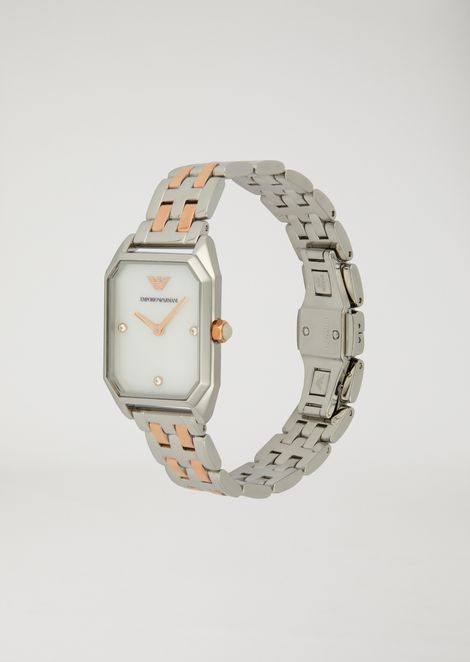 Watch with mother-of-pearl and embedded crystal dial