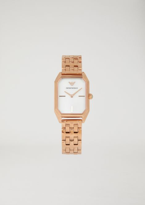 Gold-tone steel watch with mother-of-pearl dial