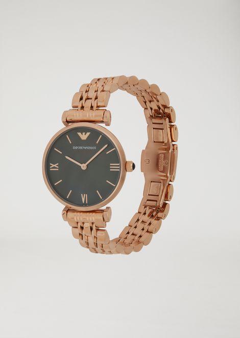 Steel watch with interwoven link bracelet