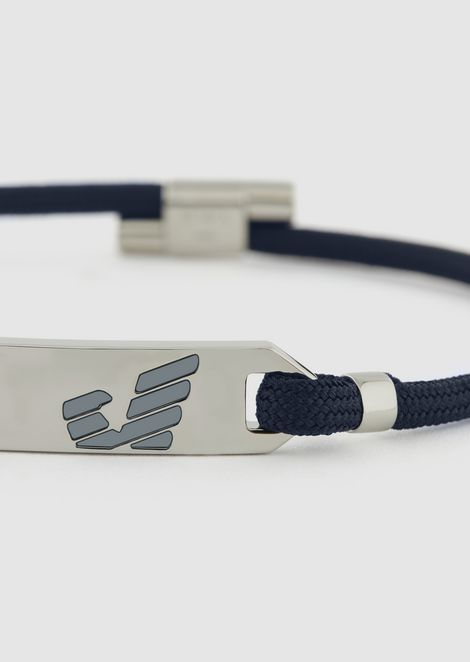 Braided bracelet with sterling-silver logo plate