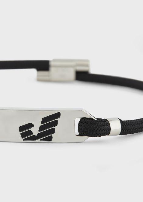 Bracciale con placca in acciaio inox con logo Emporio Armani