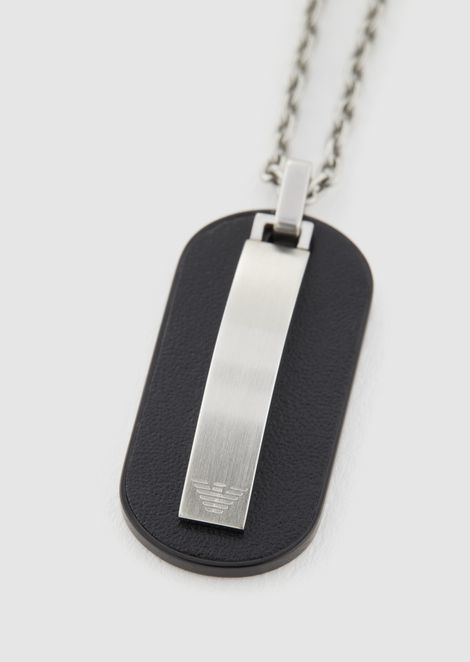 Necklace with dog tag featuring the Emporio Armani logo