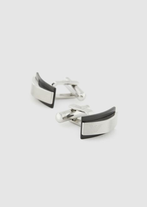 Steel bar cufflinks with engraved logo