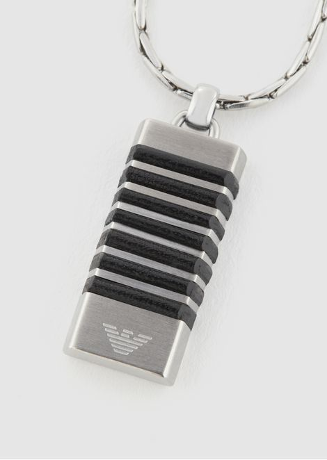 Stainless-steel necklace featuring charm with stripes and Emporio Armani logo