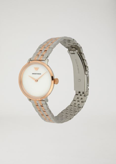 Watch with mother-of-pearl dial and interwoven link strap